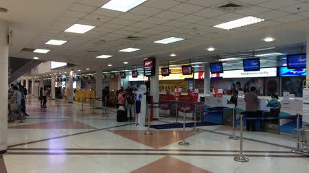counter : CHIANGMAI , THAILAND - SEPTEMBER 13 2014: Inside terminal of Chiangmai International Airport. Chiangmai, thailand. Stock Footage