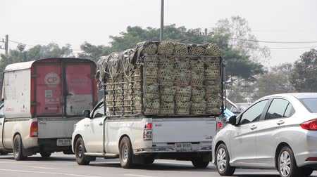 kurier : CHIANGMAI, THAILAND - JANUARY 20 2015:  Private Pickup truck for Agricultural production Transportation. Footage at road no.1001 about 8 km from downtown Chiangmai, thailand.