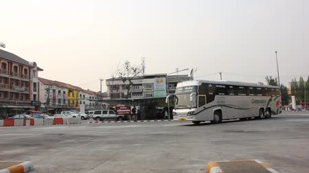 personal transporter : CHIANG MAI, THAILAND - MARCH 18 2015: New Scania 15 Meter bus of Greenbus company. Route Phuket and Chiangmai. VIP bus with personal lcd tv, Footage at Chiangmai bus station, thailand. Stock Footage