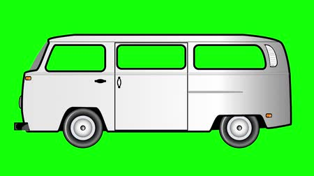 bok : Animation of vintage van on green screen. Dostupné videozáznamy