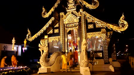 peng : In Trawat Temple, Location Near Three Kings Monument. Night shot on Yi Peng day. Stock Footage