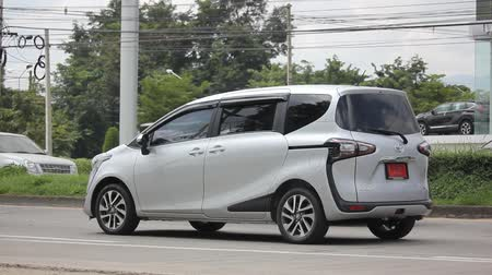 CHIANG MAI, THAILAND - OCTOBER 14 2017: New Product of Toyota Automobile Toyota Sienta Mini MPV Van. On road no.1001 8 km from Chiangmai city.