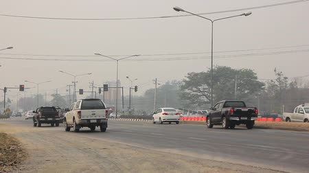 Chiangmai, Thailand - March 15 2019: Smoke and Pollution Haze on highway Chiangmai road. Stock Footage