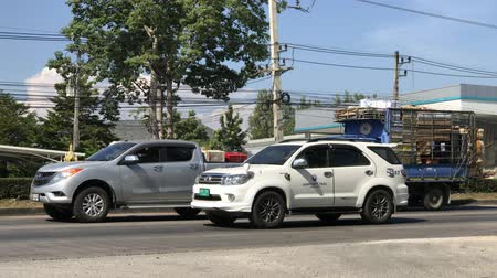 Chiangmai, Thailand - December 2 2019: Toyota Fortuner of Airport Taxi Chiangmai. Footage at about 8 km from downtown Chiangmai thailand.
