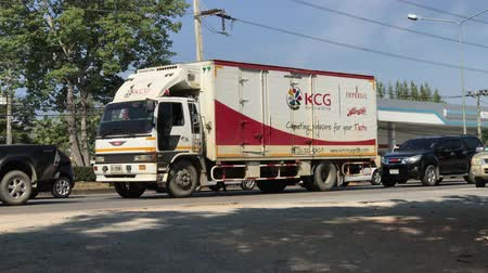 Chiangmai, Thailand - December 2 2019: KCG Container truck on road. Footage at about 8 km from downtown Chiangmai thailand.