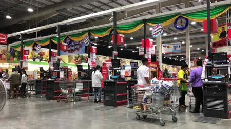 Chiangmai, Thailand - December 27 2019: Inside of Makro supermarket. Footage of Makro Maerim in Chiangmai, Thailand.