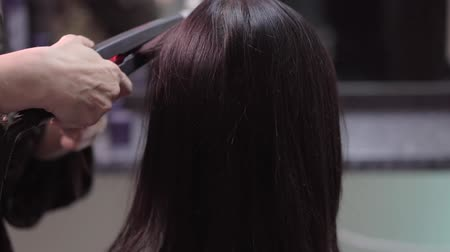 estilista : Hairstylist straightening the long black hair of a female client using a heated hair straightener Vídeos