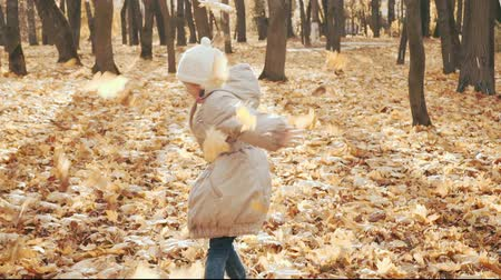 Happy little girl playing with the autumn leaves in the park. Stok Video