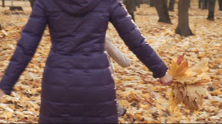 Happy little girl playing with her mother in the autumn park.
