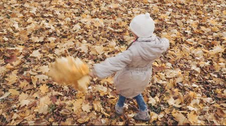 Happy little girl spinning with the posy of autumn leaves in the park. Stok Video