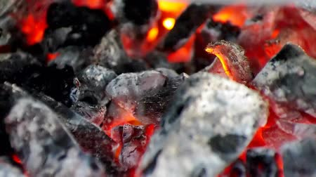 fosilní : Closeup of charcoal burning in the barbecue