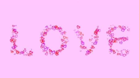 heart shaped : Love word animated with beautiful heart shapes Stock Footage