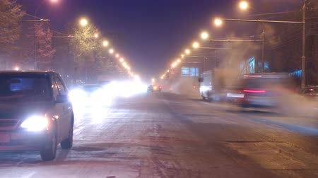 escape : Traffic in the city, early morning frosty day, timelapse