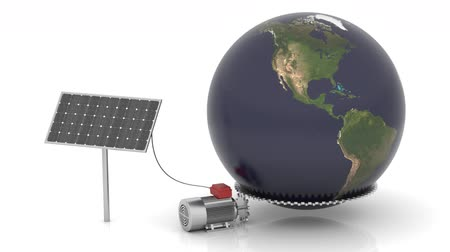 panele : Solar panel produces electrical energy and moves the world. Map come from http:visibleearth.nasa.gov