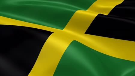 jamaica : Jamaican flag in the wind. Part of a series.