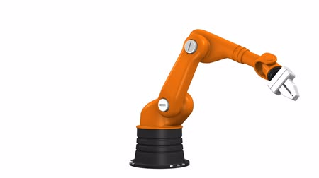 robots : Industrial robotic arm isolated on white background