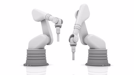 automatizálás : Industrial robotic arms building NEWS word on white background