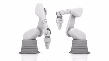 časopis : Industrial robotic arms building MEDIA word on white background