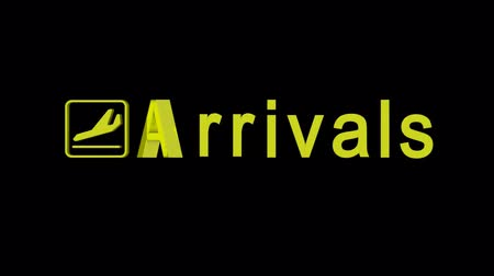 destinace : Arrivals word rotating on a black background with alpha channel