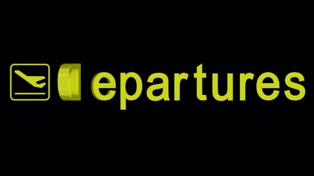 bilet :  Departures word rotating on a black background with alpha channel Stok Video