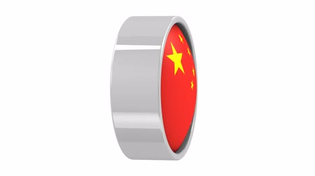 hymn : Chinese flag  with circular frame. Part of a series. Stock Footage