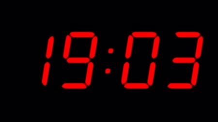 contagem regressiva : Digital countdown timer in red color over black background. Vídeos