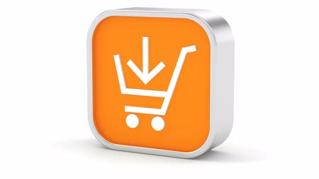 add to cart : Add to cart sign on a white background. Part of a series. Stock Footage