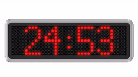 minuto : Red led dot display with 30 seconds countdown over a white background. Part of a series. 4k video resolution (4096x2304). Vídeos