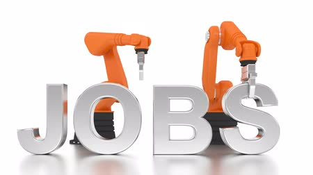 foglalkoztatás : Industrial robotic arms building JOBS word on white background Stock mozgókép