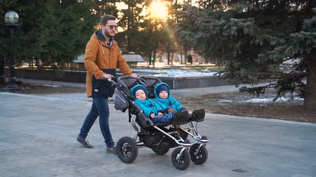 holding : Father walks with stroller and twins in the park