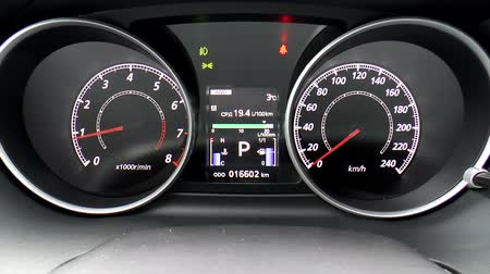 gösterge paneli : The video shows modern car dashboard. Clous up. Stok Video