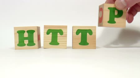гимназия : The video shows http word built of wooden blocks