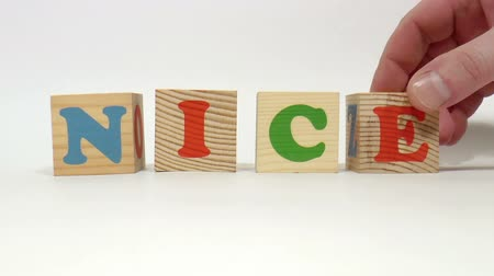 гимназия : The video shows nice word built of wooden blocks