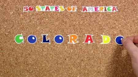 rajzszeg : Video shows word Colorado is one of the states of America on the cork