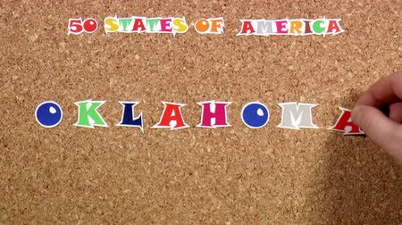 rajzszeg : Video shows word Oklahoma is one of the states of America on the cork