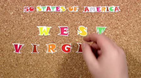 rajzszeg : Video shows word West Virginia is one of the states of America on the cork