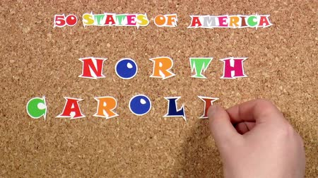 rajzszeg : Video shows word North Carolina is one of the states of America on the cork