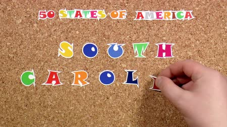 çerçeveler : Video shows word South Carolina is one of the states of America on the cork Stok Video