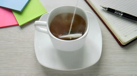 teabag : The video shows tea bag is brewed in a cup