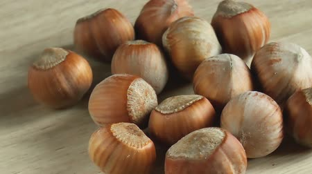 Hazelnuts nuts. Food background. Close up rotation