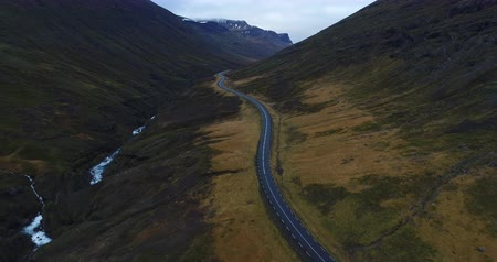 DRONE VIEW of an ICELAND ROAD