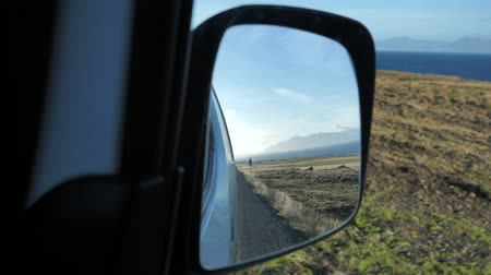 REAR-VIEW MIRROR CAR WILD ROAD Stock Footage