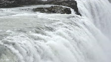 Close up of Gullfoss waterfall in slow motion, Iceland