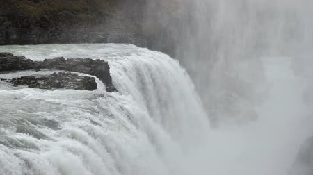 Second view of Gullfoss waterfall in slow motion, Iceland