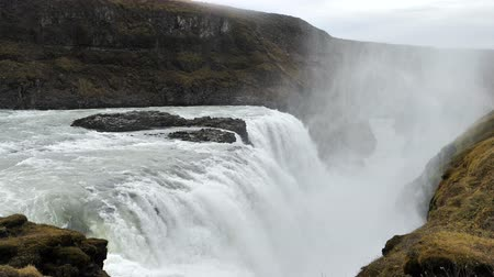 View of Gullfoss waterfall in slow motion, Iceland