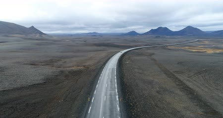 Cinematic aerial view of a desert road from iceland
