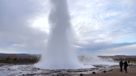 geyser iceland : Amazing high Geyser explosion, recorded in Slow Motion
