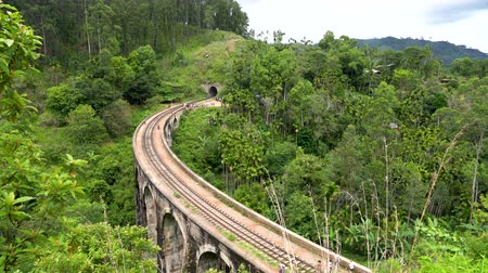 Wide view of the famous Nine Arches bridge of Ella, Sri Lanka Stock Footage