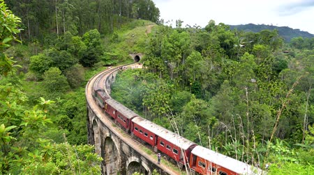 Panoramic view of the train passing by the Nine Arches bridge of Ella, Sri Lanka