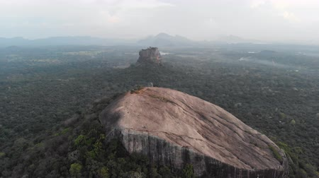 Aerial tilt down flight of Pidurangala and Sigiriya Rock. One of the most impressive places of SRI LANKA. Shot in 4k. Stock Footage